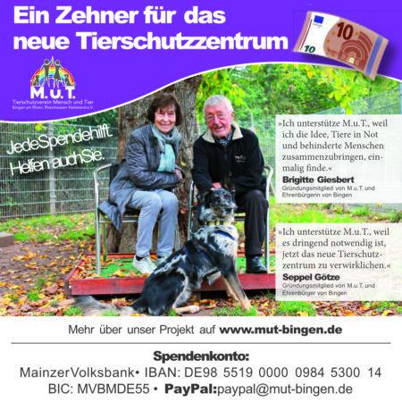 Flyer: ein Zehner für das Tierschutzzentrum